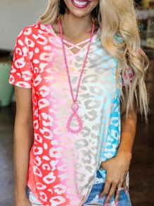 Red Colorful Tie Dye Gradient V-neck Short Sleeve Casual T-Shirt