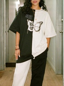White Black Butterfly Letter Round Neck Half Sleeve Casual T-Shirt