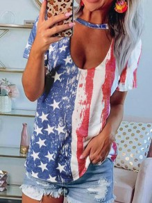 Blue American Flag U-neck Short Sleeve Independence Day Fashion Choker T-Shirt