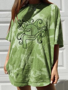 Green Tie Dye Sun Print Oversize Round Neck Short Sleeve Fashion T-Shirt