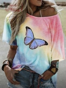 Red Colorful Tie Dye Butterfly One Shoulder Casual T-Shirt