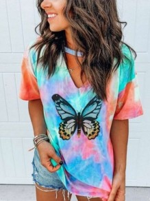 Green Colorful Tie Dye Butterfly V-neck Short Sleeve Fashion T-Shirt