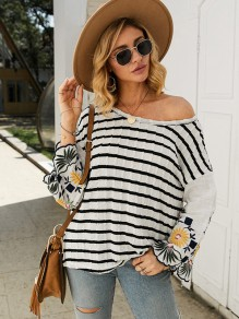 Black White Striped Embroidery One Shoulder Flare Sleeve T-Shirt