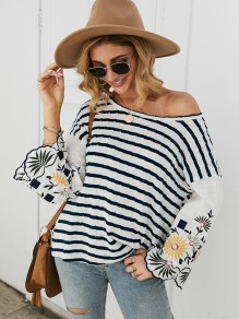 Sapphire Blue White Striped Embroidery One Shoulder Flare Sleeve T-Shirt