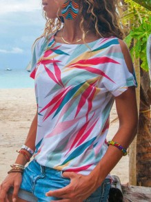 White Leaves Round Neck Short Sleeve Casual T-Shirt