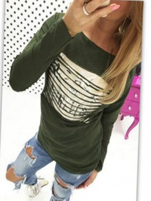 Green Flora Pattern Tiered Bodycon Round Neck Going out T-Shirt