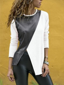 White Irregular Slit Bodycon Round Neck Long Sleeve Going out T-Shirt