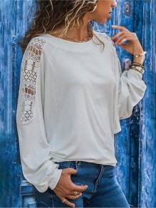 White Patchwork Lace Round Neck Long Sleeve Going out T-Shirt