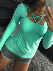 Green Cut Out Bodycon Comfy V-neck Lace-up Going out T-Shirt