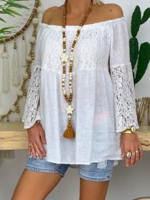 White Patchwork Lace Off Shoulder Bodycon Going out T-Shirt