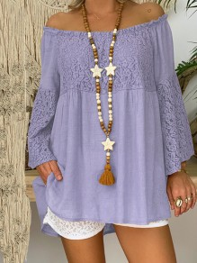 Purple Patchwork Lace Off Shoulder Bodycon Going out T-Shirt