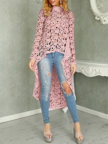 Pink Patchwork Lace Cut Out High-low Going out T-Shirt