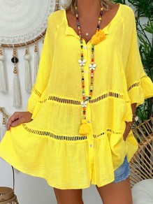 Yellow Cut Out Ruffle Bodycon Comfy V-neck 3/4 Sleeve Going out T-Shirt