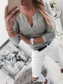 Grey Patchwork Lace Zipper Bodycon Round Neck Sweet T-Shirt