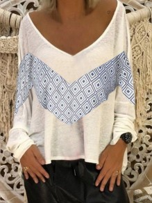White Patchwork Pattern Comfy Bodycon V-neck Going out T-Shirt