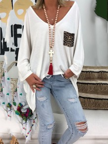 White Patchwork Pattern Pockets Bodycon Comfy Going out T-Shirt