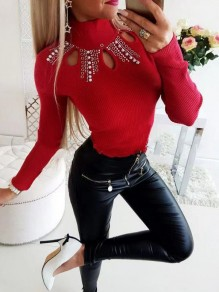 Red Patchwork Rhinestone Cut Out Bodycon Sweet T-Shirt