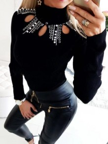 Black Patchwork Rhinestone Cut Out Bodycon Sweet T-Shirt