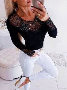 Black Patchwork Lace Grenadine Rhinestone Bodycon Fashion T-Shirt