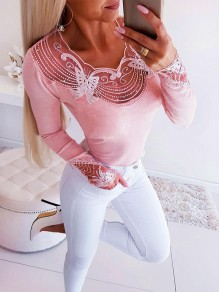Pink Patchwork Lace Grenadine Rhinestone Bodycon Fashion T-Shirt