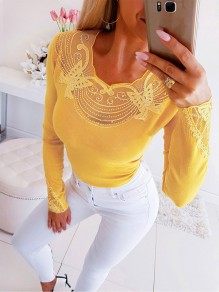 Yellow Patchwork Lace Grenadine Rhinestone Bodycon Fashion T-Shirt