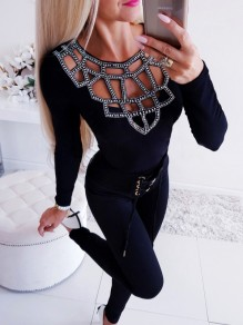 Black Patchwork Rhinestone Cut Out Bodycon Ttrendy Bodycon Fashion T-Shirt