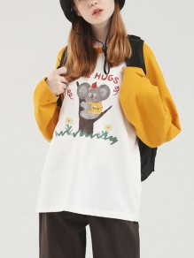 White-Yellow Cartoon Koala Print Round Neck Long Sleeve Cute T-shirt