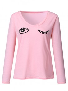 Pink Going Out Comfy Sweet Fashion Round Neck T-Shirt