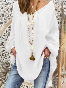 White Going out Comfy Sweet Fashion Round Neck T-Shirt