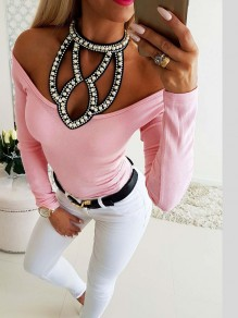 Pink Patchwork Rhinestone Cut Out Comfy Bodycon Going out T-Shirt