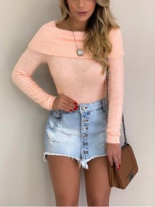 Light Orange Off Shoulder Bodycon Comfy Ttrendy Going out T-Shirt