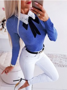 Blue Patchwork Lace Bow Elegant Ttrendy Comfy Going out T-Shirt