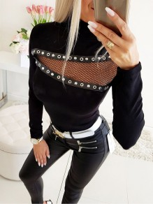 Black Patchwork Grenadine Rhinestone Cut Out Fashion T-Shirt