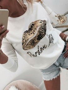 White Floral Pattern Round Neck Long Sleeve Going out T-Shirt