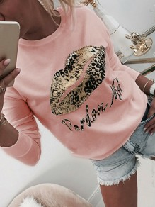 Pink Floral Pattern Round Neck Long Sleeve Going out T-Shirt