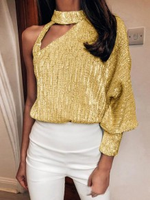 Yellow Sequin Irregular Cut Out Halter Neck Lantern Sleeve Sparkly NYE Party T-shirt