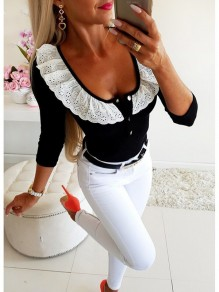 Black Patchwork Lace Single Breasted Long Sleeve Going out T-Shirt
