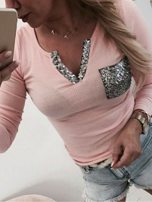 Pink Patchwork Sequin V-neck Bodycon Glitter Fashion T-Shirt
