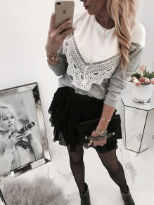 Grey Patchwork Lace Bodycon Long Sleeve Going out T-Shirt