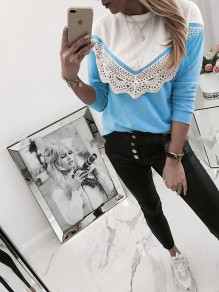 Blue Patchwork Lace Bodycon Long Sleeve Going out T-Shirt