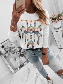 White Flora Pattern Ttrendy Bodycon Round Neck Going out T-Shirt