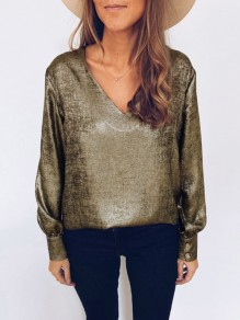 Golden Bronzing V-neck Long Sleeve Fashion T-Shirt