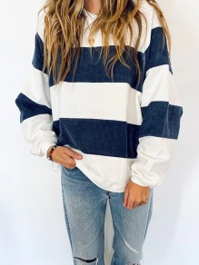 Blue White Striped Print Round Neck Long Sleeve Fashion T-Shirt