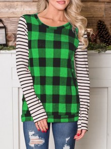 Green Plaid Striped Long Sleeve Round Neck Casual T-Shirt