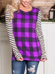 Purple Plaid Striped Long Sleeve Round Neck Casual T-Shirt