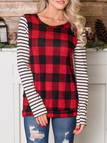 Red Plaid Buffalo Checkered Striped Long Sleeve Round Neck Casual T-Shirt