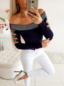 Navy Blue Patchwork Rhinestone Cut Out Off Shoulder Going out T-Shirt
