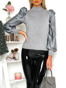 Grey Bodycon Comfy Long Sleeve Going out T-Shirt