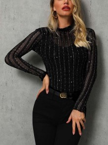 Black Grenadine Sequin Bodycon Glitter Sparkly Going out T-Shirt