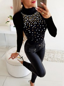 Black Patchwork Rhinestone Bodycon Comfy Ttrendy Going out T-Shirt